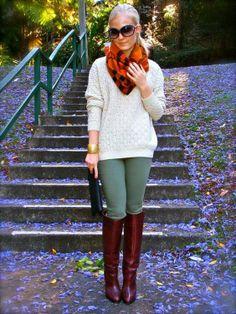 cream / olive skinnies / brown boots / orange