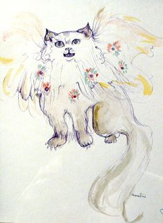 Chat au fleurs (Cat and Flowers) by Leonor Fini Radiohead, Max Ernst, Magritte, Claudio Bravo, Pretty Cats, Pretty Kitty, Georges Braque, Rock, Book Illustration