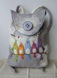 Wool backpack with birds, Felted backpac. - Wool backpack with birds Felted backpack von MarusyaKacharizkina - Nuno Felting, Needle Felting, Felt Purse, Wool Art, Felt Birds, Felt Applique, Fabric Bags, Felt Ornaments, Felt Art