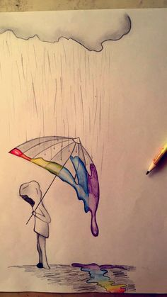 Rainbow Rain - # Rain # Rainbow # Drawing - Best pins - Drawing Still 2020 Sad Drawings, Cool Art Drawings, Pencil Art Drawings, Art Drawings Sketches, Beautiful Drawings, Drawing Ideas, Disney Drawings, Pencil Drawing Tutorials, Art Tutorials