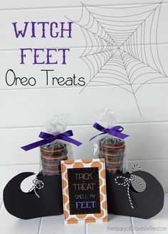 WITCH FEET OREO TREATS Pattern here http://www.thediaryofdaveswife.com/2012/12/11/oreo-elf-feet-with-free-printable/
