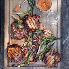 Pork Loin Chops with Romesco Sauce and Grilled Onions | Williams-Sonoma