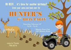 Deer Hunting Outdoor themed printable Birthday Party Invitation   katiebellepaperie - Children's on ArtFire
