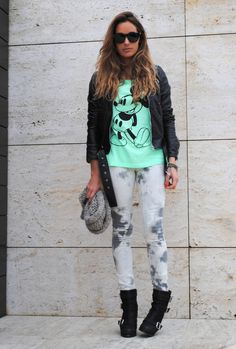 TIE DYE  #fashion #outfit #style #look, Mango in Pants, Zara in Jackets, H&M in T Shirts, H&M in Scarves / Echarpes, Zara in Ankle Boots / Booties