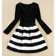 DressLily - Dresslily Scoop Neck Color Matching Long Sleeve Striped Dress For Women - AdoreWe.com