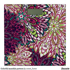 Colorful mandala pattern bathroom scale #Home #decor #Room #Interior #decorating #Idea #Styles #Traditional #Boho #Indian #Vintage #floral #motif