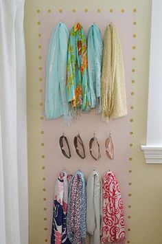 Keep your accessories organized and adds some color to your wall to brighten up the room!