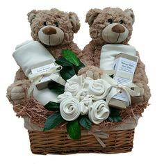 Twins Essential #organic baby gift basket. Baby Gift Hampers, Gift Baskets, Twin Babies, Twins, Twin Baby Gifts, Baby Bouquet, Baby Lotion, Organic Baby Clothes, Baby Wraps