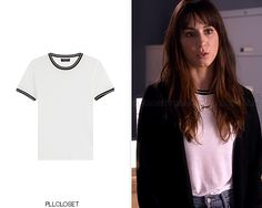 Also available HERE, HERE and HERE. Rag & Bone 'Stevie Short Sleeve Tee' - $150.00 Worn with: Topshop jacket, Onecklace necklace Credit: wornontv.net