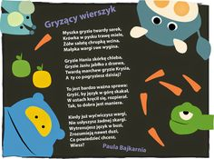 bajkarnia: Grrryzący wierszyk Special Needs, Kids Learning, Activities For Kids, Teaching, Humor, School, Funny, Character, Speech Language Therapy