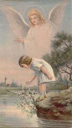 I love all the guardian angel pictures. I had several of them on my wall as a kid, and my kids will have them too. Rose Croix, Vintage Illustration, I Believe In Angels, My Guardian Angel, Guardian Angel Pictures, Angels Among Us, Angels In Heaven, Heavenly Angels, Angel Art