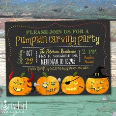 Pumpkin Carving Party Chalkboard Printable by PartyGirlDesigns1