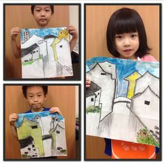 Chinese painting in the style of famous Chinese painter, Wu Guan Zhong, using charcoal and watercolour.