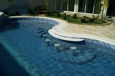 Swimming Pool Designs, Swimming Pools, Outdoor Pool, Outdoor Decor, Swim Up Bar, Pool Bar, Sunrise, Spa, Backyard