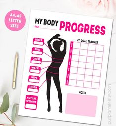 Printable body measurements, fitness goal tracker, weight loss tracker, progress log, health journa Having a Fitness Journal, Fitness Planner, Fitness Goals, Male Fitness, Fitness Studio, Body Fitness, Fitness Tracker, Printable Workouts, Lose Weight