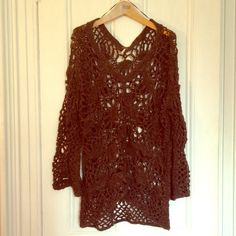 FREE PEOPLE Open-Knit Intricate Sweater Gorgeous brown sweater from Free People with a intricate knit pattern. Size XS/TP. Free People Sweaters