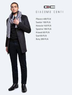 Stylizacja Giacomo Conti: płaszcz Alfredo 14/69 LK, koszula Michele 14/10/12, sweter Nestore 14/90 SR, spodnie Riccardo 14/40 K #giacomoconti