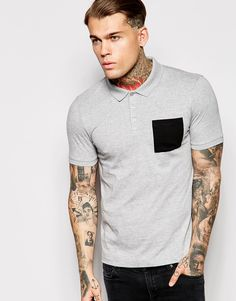 ASOS Polo Shirt In Jersey With Contrast Pocket