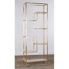 Shop the Brand: Canora Grey Gold Bookshelf, Gold Shelves, Corner Shelving Unit, Geometric Shelves, Gin, Gold Rooms, Shelving Design, Salon Interior Design, A Frame House