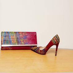 LEBI Dashiki Print Shoes And Bag Set