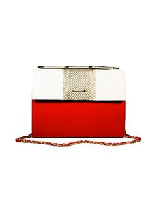 Named after Dea Rosa's creative inspiration, the Rose (Large) is the ultimate lady's day bag that easily transitions into an oversized clutch for evenings. Shown in tonal black and white cobra, coral leather (lamb) and white leather (calf). Signature invisible/folding gold tone handle with cobra inserts.     SHOWN IN WHITE LEATHER (CALF), TONAL BLACK AND WHITE COBRA, AND CORAL LEATHER (LAMB).  SIGNATURE INVISIBLE/FOLDING SOLD BRASS GOLD TONE HANDLE WITH COBRA INSERTS  SOLID BRASS GOLD TONE…