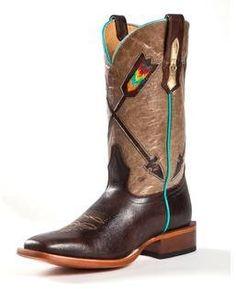 Johnny Ringo cowboy boots with arrow designs.