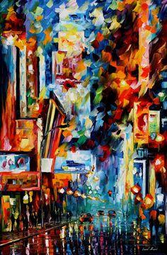 NIGHT BROADWAY - PALETTE KNIFE Oil Painting On Canvas By Leonid Afremov http://afremov.com/NIGHT-BROADWAY-PALETTE-KNIFE-Oil-Painting-On-Canvas-By-Leonid-Afremov-Size-24-x36.html?bid=1&partner=20921&utm_medium=/vpin&utm_campaign=v-ADD-YOUR&utm_source=s-vpin