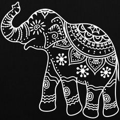 Indian elephant outline - could use as faux Batik design Henna Elephant, Elephant Outline, Elephant Tattoos, Indian Elephant Art, Elephant Henna Designs, Elephant Drawings, Elefant Design, Indian Patterns, Henna Patterns