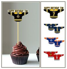 BOSTON BRUINS -Hockey - Cupcake Toppers - Tailgate Party Favors - 15 Large Double-Sided Jersey -Decorate Cakes, Salads, Burgers -Party Decor