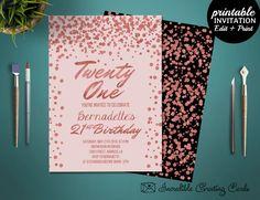 Printable Rose Gold 21st Birthday Girl Invitation Template. Birthday Party Invitation. Twenty One Girl Birthday Invitation Template by HandmadeIncredible on Etsy