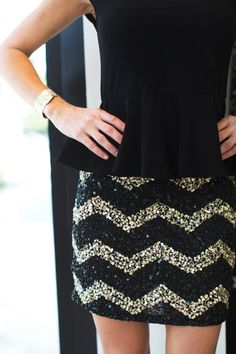 Sequin skirt + peplum super cute just add tights or leggings for fall and winter