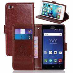 GUCOON Vintage Wallet Case for Philips S326 5.0inch PU Leather Retro Flip Cover Magnetic Fashion Cases Kickstand Strap