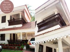 Tucked in the bylanes of Palakkad, in Kerala, stands the pristine white 'Shanti Vihar'. What's unique about this home is that is recreated i. Balcony Railing Design, Window Grill Design, Classic House Design, Unique House Design, Kerala Traditional House, Traditional Ideas, Chettinad House, Toilet Room Decor, Kerala Architecture