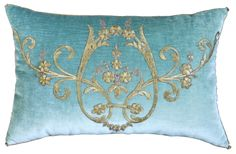 Pillow created with Antique Ottoman Gold Raised Metallic Embroidery