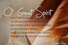 ❥ A Cherokee Prayer. O, HOLY Spirit...!