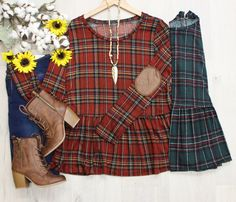"""""""Chloe"""" Plaid Peplum Top with Elbow Patches, 2 colors"""