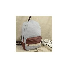Meringue Faux Leather Lace Trim Backpack (52 CAD) ❤ liked on Polyvore featuring bags, backpacks, accessories, knapsack bags, brown backpack, rucksack bag, backpacks bags and brown bag