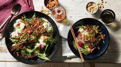 """Stir-fried lemongrass beef with warm vermicelli noodle salad 