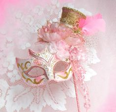 Marie Antoinette Pink  Shabby Masquerade  Paris  Costume Mardi Gras Centerpiece Mask Shower Carnival Decoration. $85.00, via Etsy.