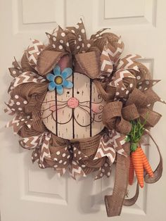 Easter Wreath Burlap Wreath Deco Mesh Wreath Rustic by RoesWreaths