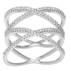 La Preciosa Sterling Silver Micro Pave Cubic Zirconia Double 'X' Ring - 16994065 - Overstock.com Shopping - Big Discounts on La Preciosa Cubic Zirconia Rings