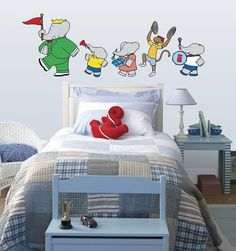 Cute wall decals for a big #Babar fan! #books to bed