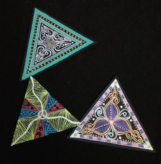 Yet another 3 Black Triangles with different variations. Pen Art, Gel Pens, Triangles, Zentangle, Mumbai, Meditation, Colorful, Artist, Holiday