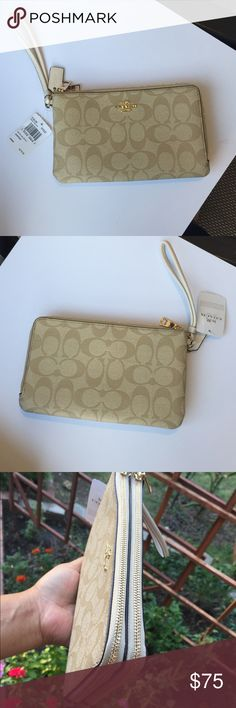 """🌸NEW🌸 Coach Large Wristlet DOUBLE ZIP Wristlet IN SIGNATURE COATED CANVAS COACH F16109 SILVER/KHAKI  Signature coated canvas Six credit card slots Full-length bill compartments Double zip closure, fabric lining Wrist strap attached 8"""" (L) x 4 3/4"""" (H)  Fits all phone sizes up to an iPhone 7 Plus and Samsung S7 Edge Coach Bags Clutches & Wristlets"""