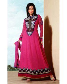 Stylelok Pink Georgette Printed Suit