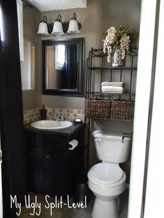 Update your bathroom decor in no time with these affordable, cute half bathroom ideas. Half bath decor, Half bathroom remodel and Half bath remodel. Home Renovation, Home Remodeling, Bathroom Remodeling, Bathroom Makeovers, Bathroom Renos, Budget Bathroom, Vanity Bathroom, Basement Bathroom, Bathroom Storage