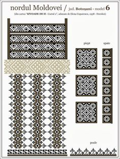 Ie Dorohoi Cross Stitch Borders, Simple Cross Stitch, Cross Stitching, Cross Stitch Patterns, Quilt Patterns, Chart Design, Pattern Design, Embroidery Motifs, Beading Patterns