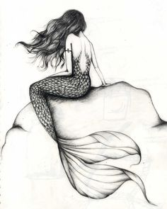 detailed pencil drawing of a mermaid by jemma frater