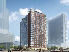 A hotel in Denver Construction Design, Under Construction, Glass Curtain Wall, Hotel Packages, Denver Colorado, Skyscrapers, Investors, Facade, Buildings