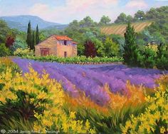Jennifer E Young Vibrant Landscapes...GOLDEN BROWN AND LAVENDER  Provence, France